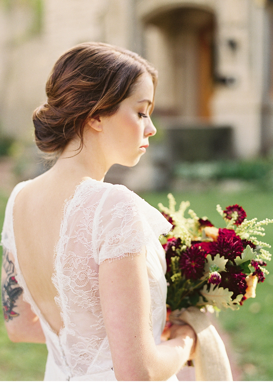 Bride-with-Red-and-Gold-Bouquet