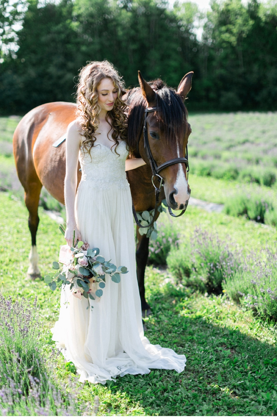 Bride-with-Horse-at-Lavender-Farm