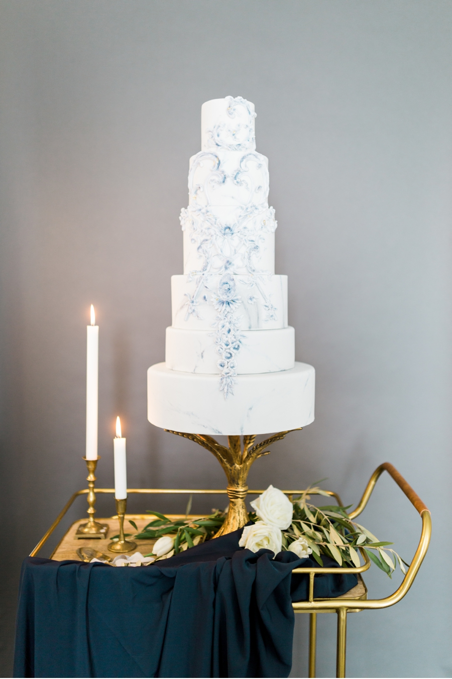 White-Tiered-Wedding-Cake-on-Bar-Cart