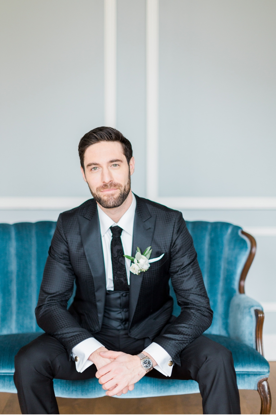 Groom-with-Teal-Settee