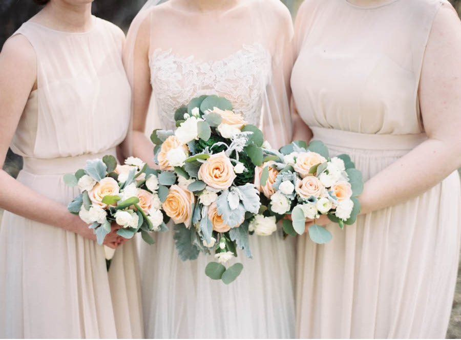 Peach-and-Green-Bridal-Bouquets