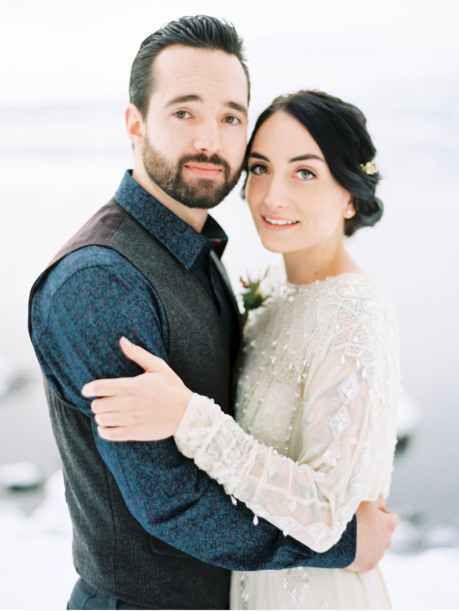 Groom-with-Vest-Bride-in-Heirloom-Gown