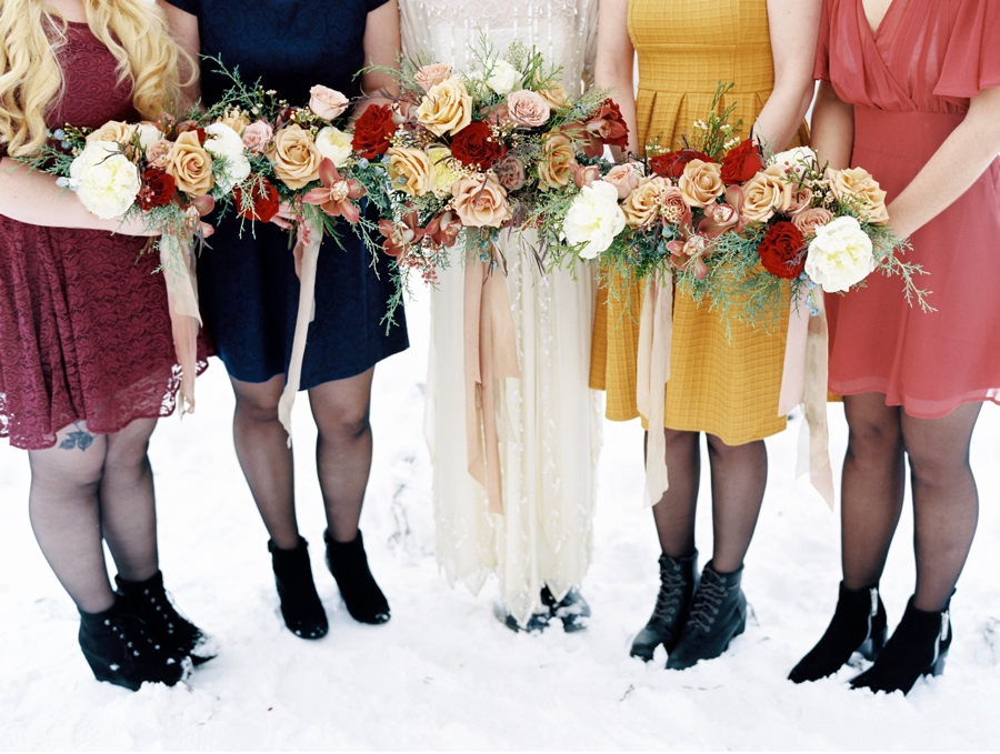 Colourful-Bridesmaids-Dresses-for-Winter
