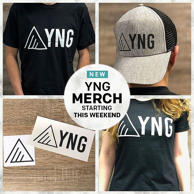 We have some new 🔥 merch for sale this weekend!  Make sure you get your YNG gear before it sells out!  Guys & Girls Shirts - $15 | Hats - $10 | YNG Logo Square Sticker - $3 | YNG Name & Logo Transfer Sticker - $5