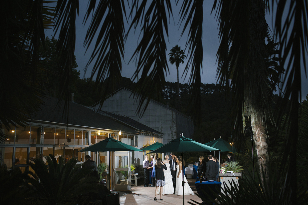 The conference room during the evening wedding reception at UC Botanical Garden in Berkeley, Calif.