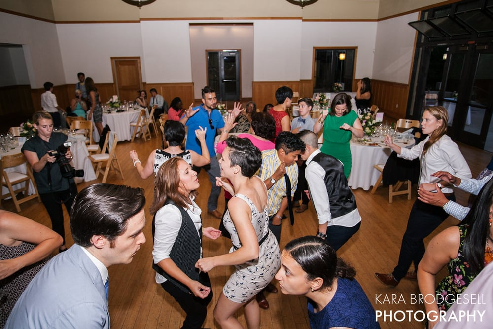 """Our wedding guest covered a range of ages and backgrounds, and Erica knew how to get everyone on the dance floor."" Brigid & Trineice at Dunsmuir Hellman House"