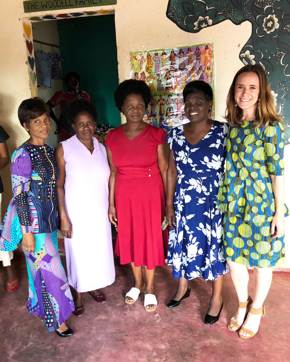 Elina (In-Country Director), Jessy (Micro-Loan Coordinator), Emeli (Asst. Director), Fridah (Lead Sewing Instructor), and myself in my gorgeous outfit!