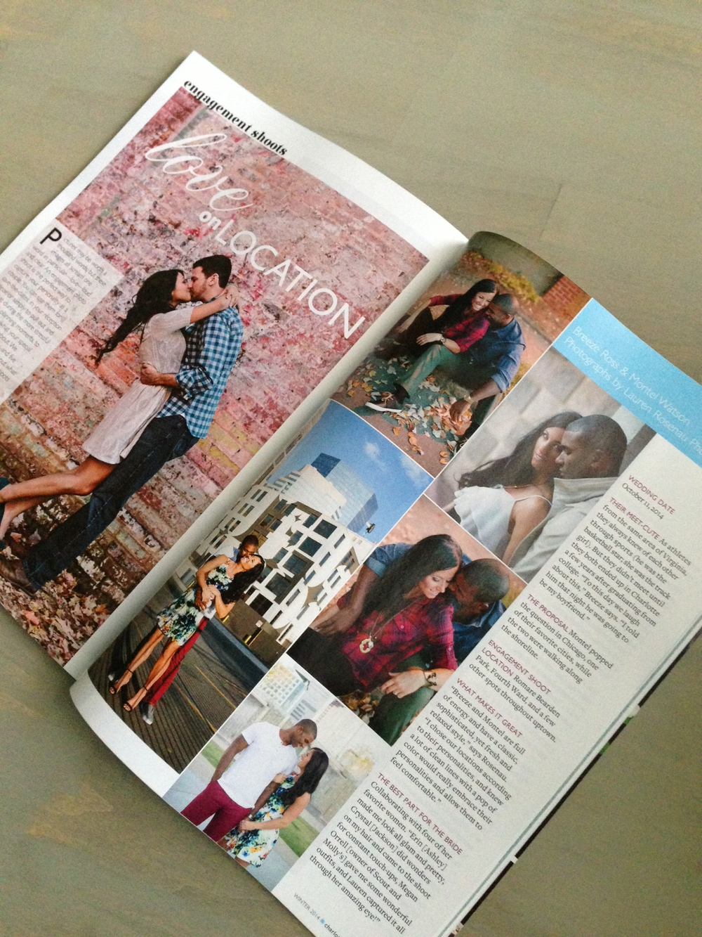 Breeze & Montell in Charlotte Wedding magazine