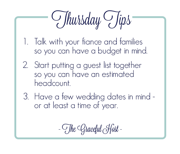 Thursday tips how to jump start your wedding planning charlotte its so important to set boundaries before you can even begin planning for your wedding be sure to start a conversation with your fianc and families about junglespirit Image collections