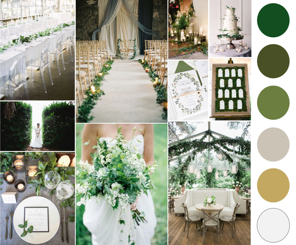 2017 Color Of The Year Inspiration Board - Greenery Wedding Inspiration - The Graceful Host