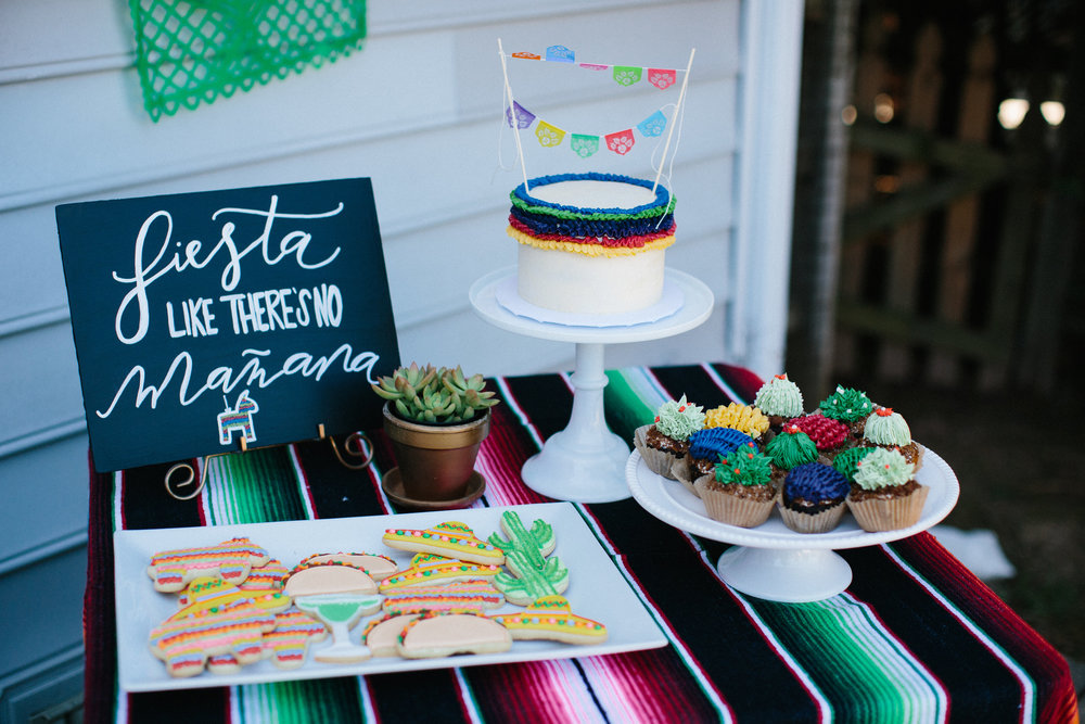Fiesta birthday party birthday cake and cupcakes
