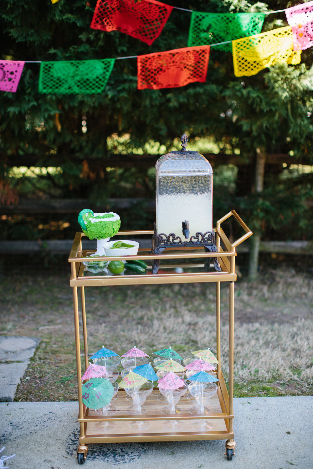 Fiesta birthday party margarita bar drink display
