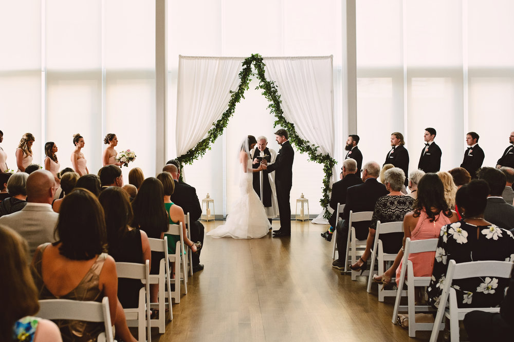 Mint Museum Atrium wedding ceremony, Mint Museum Uptown wedding in Charlotte, North Carolina by The Graceful Host