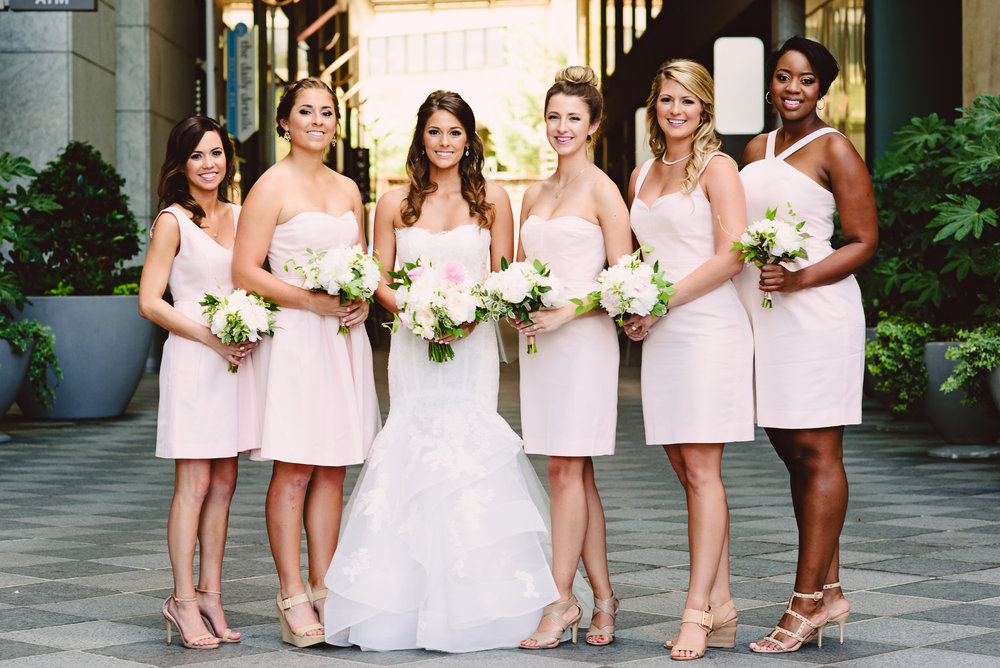 J Crew blush pink bridesmaid dress, Short bridesmaid dresses, Bridesmaid bouquets, Blush ivory and greenery wedding inspiration, Mint Museum Uptown wedding in Charlotte, North Carolina by The Graceful Host