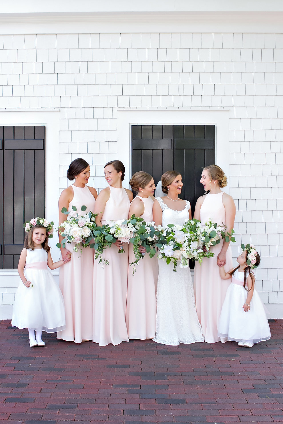 Charlotte North Carolina Wedding, Trump National Golf Course Wedding, Lakeside wedding, Blush Ivory and Greenery Wedding Design, The Graceful Host, Blush Bridesmaid Dresses, BHLDN Bridesmaid, Bridesmaid Bouquet, Greenery Bouquet, Flower Girl Attire. Blush Wedding Inspiration, Spring Wedding, Flower Crowns