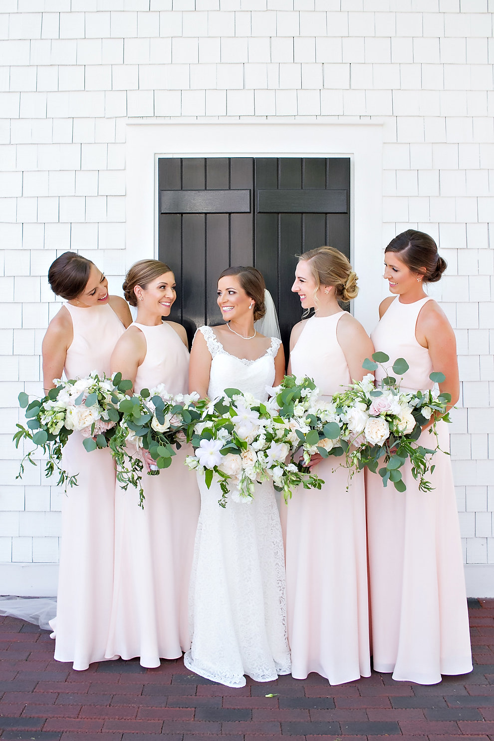 Charlotte North Carolina Wedding, Trump National Golf Course Wedding, Lakeside wedding, Blush Ivory and Greenery Wedding Design, The Graceful Host, Blush Bridesmaid Dresses, BHLDN Bridesmaid, Bridesmaid Bouquet, Greenery Bouquet, Flower Girl Attire. Blush Wedding Inspiration, Spring Wedding