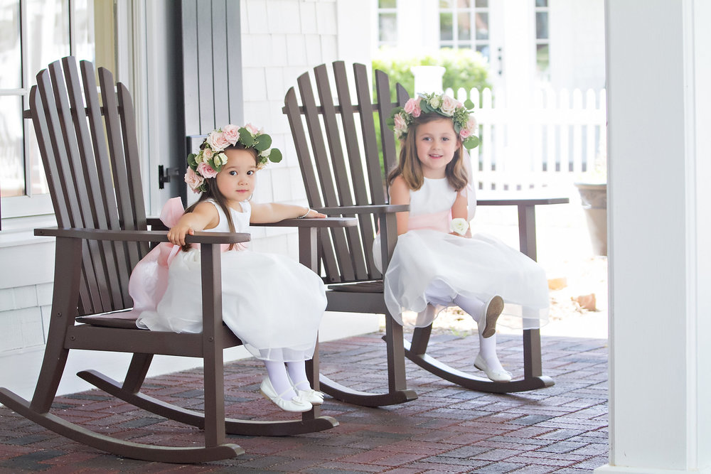 Charlotte North Carolina Wedding, Trump National Golf Course Wedding, Lakeside wedding, Blush Ivory and Greenery Wedding Design, The Graceful Host, Bridal Fashion, Lace Wedding Dress, Flower Girl Dress, Flower Crown