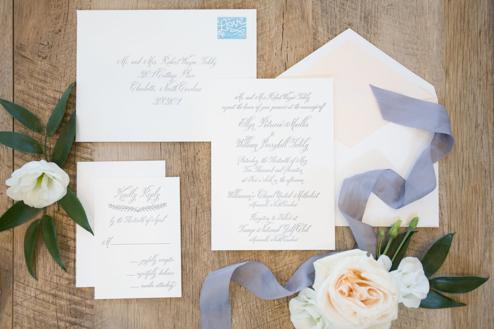 Charlotte North Carolina Wedding, Trump National Golf Course Wedding, Lakeside wedding, Blush Ivory and Greenery Wedding Design, The Graceful Host, Bridal Fashion, Classic Wedding Invitation, Wedding Invitation Suite, Letterpress Wedding Invitation, Calligraphy Wedding Invitation