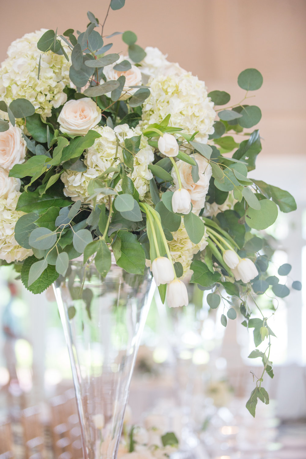 Charlotte North Carolina Wedding, Trump National Golf Course Wedding, Lakeside wedding, Blush Ivory and Greenery Wedding Design, The Graceful Host, Classic Wedding, Wedding Centerpiece, Wedding Flowers, Tall Wedding Centerpiece, Wedding Table Number Names, Peony Wedding, Spring Wedding, All White Wedding