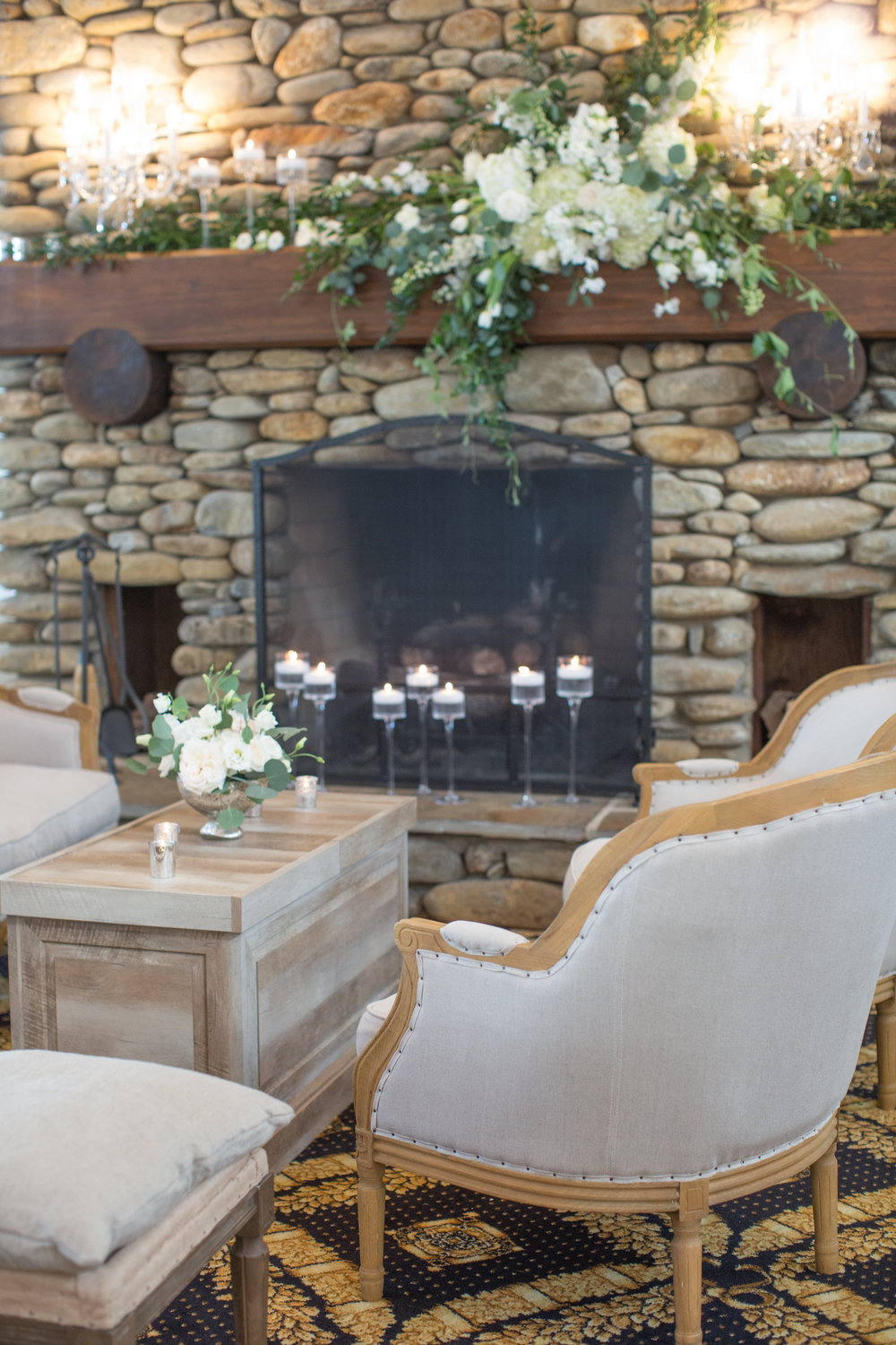 Charlotte North Carolina Wedding, Trump National Golf Course Wedding, Lakeside wedding, Blush Ivory and Greenery Wedding Design, The Graceful Host, Classic Wedding, Wedding Centerpiece, Wedding Flowers, Fireplace Mantle Flowers, Fireplace Centerpiece, Wedding Lounge Furniture, Upholstered Lounge Furniture, Elegant Wedding Ideas