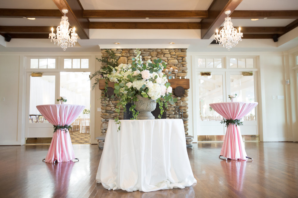 Charlotte North Carolina Wedding, Trump National Golf Course Wedding, Lakeside wedding, Blush Ivory and Greenery Wedding Design, The Graceful Host, Classic Wedding, Wedding Centerpiece, Wedding Flowers, Wedding Cocktail Hour, Cocktail Table Designs, Greenery Wedding Inspiration, Entry Way Centerpiece