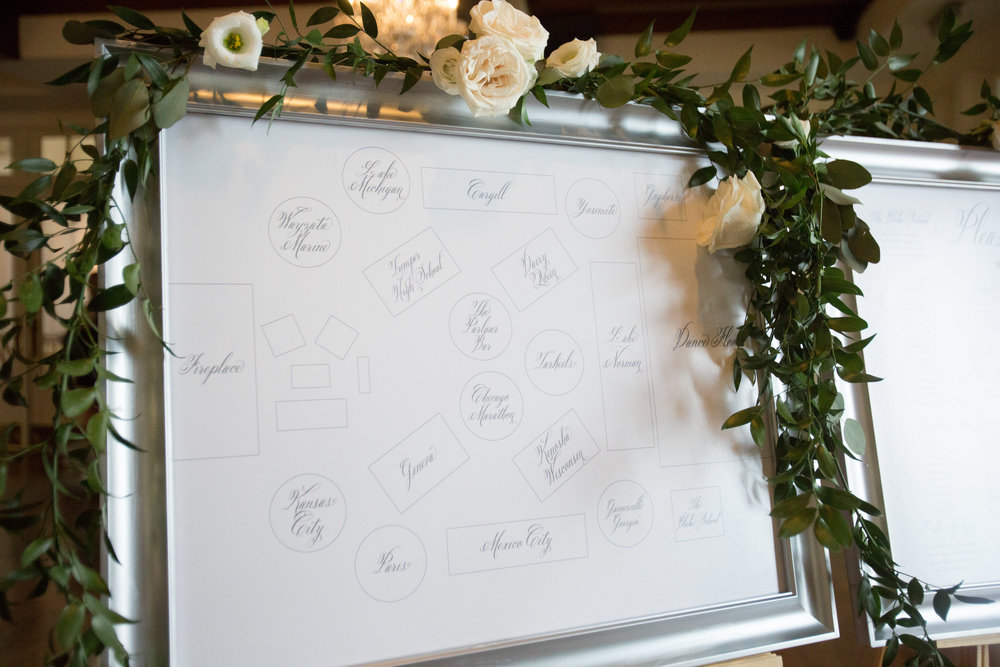Charlotte North Carolina Wedding, Trump National Golf Course Wedding, Lakeside wedding, Blush Ivory and Greenery Wedding Design, The Graceful Host, Classic Wedding, Wedding Seating Chart, Seating Chart Map, Elegant Plated Wedding Escort Card, Seating Ideas for Weddings