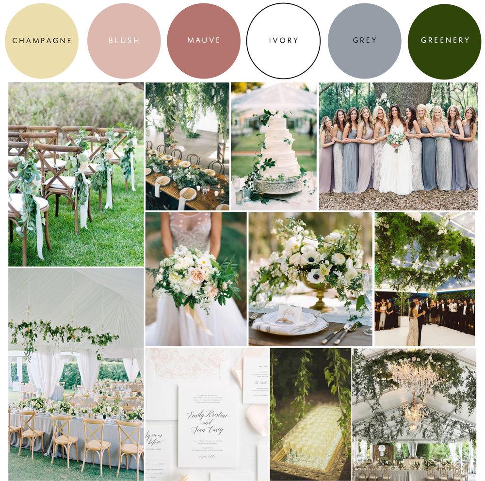 Design Board Inspiration, Wedding Color Palette, Greenery Wedding, Blush And Green Wedding Inspiration, Southern Wedding, Color Palette Inspiration, 2017 Wedding Trends