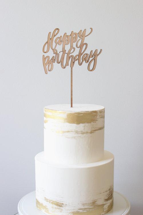 Happy Birthday Wooden Laser Cut Cake Topper IMG 7821