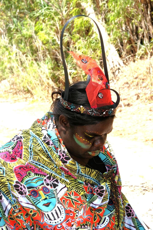 "Fiona in lycra'SarawatiPOP11""  Fiona wears digitally printed lycra ""SaraswatiPOP11""- fabric"
