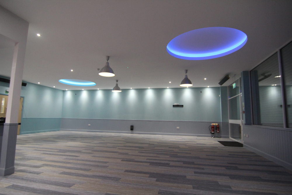 MF Feature Cieling. Sub Grid and Plaster Board. Recess Eluminated by our colour changing RGB strip Light.