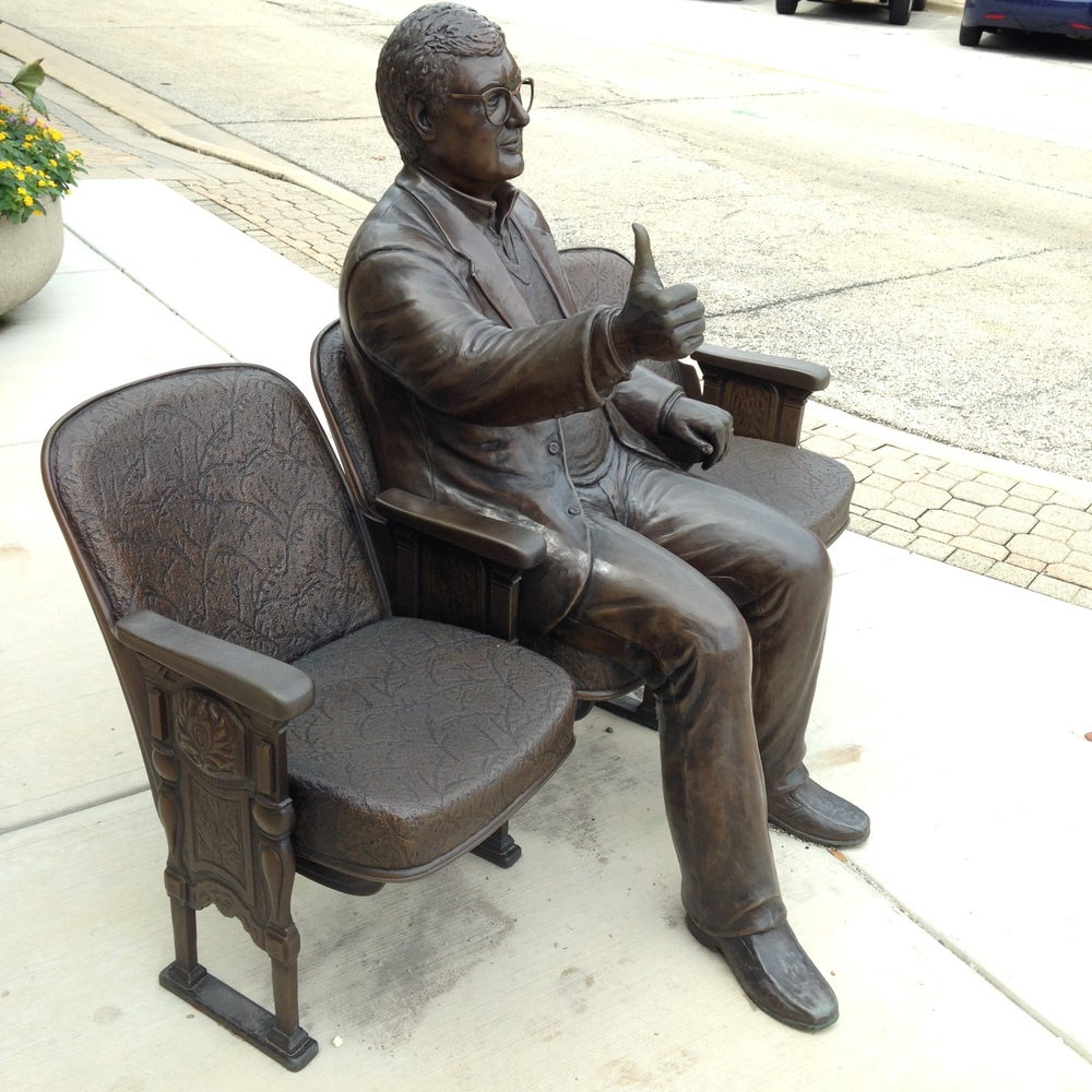 Roger Ebert statue at the Virginia Theatre, home of Ebert Fest