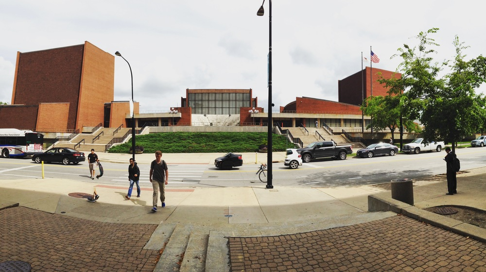 Krannert Center from the west: Colwell Playhouse, Foellinger Great Hall, Amphitheatre, and Tryon Festival Theatre