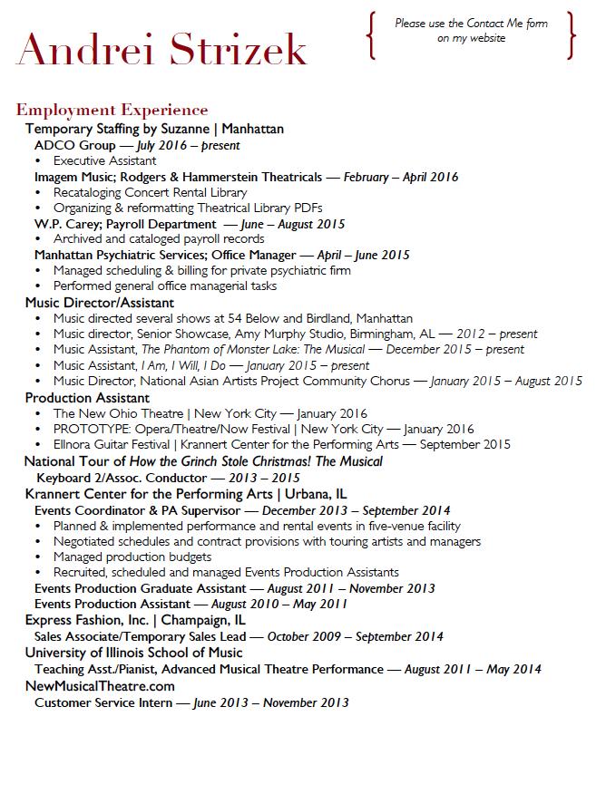 Employment Résumé