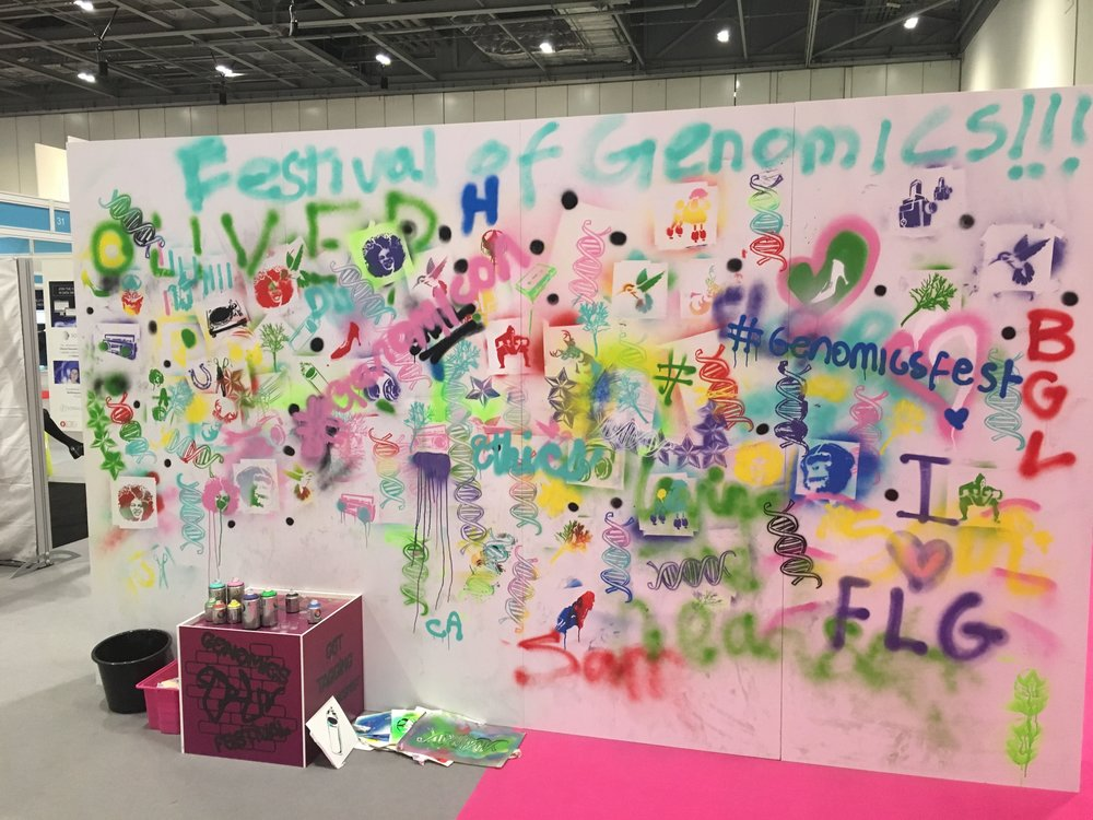 Graffiti wall at the Festival of the Genomics