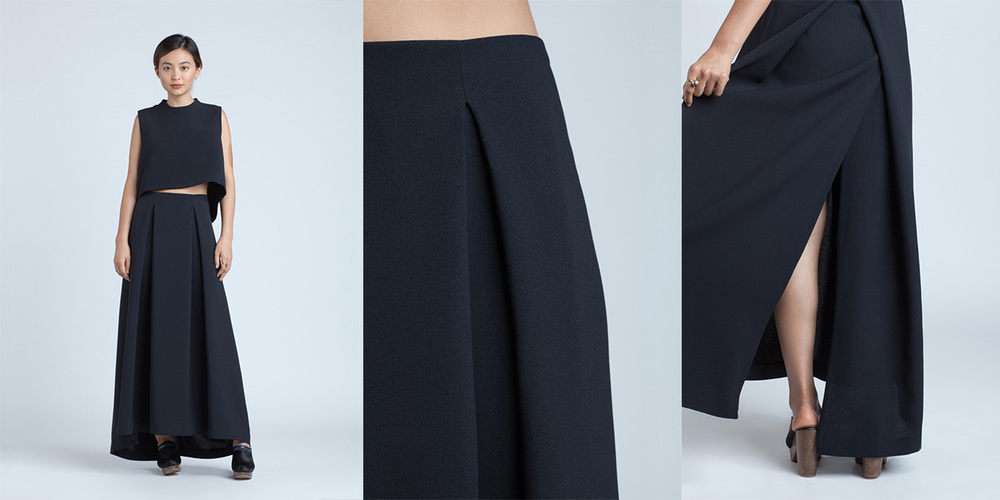 Kaarem 8xx LIỀN KHÚC BLACK BLUE RING PLEATED MAXI SKIRT 210.00