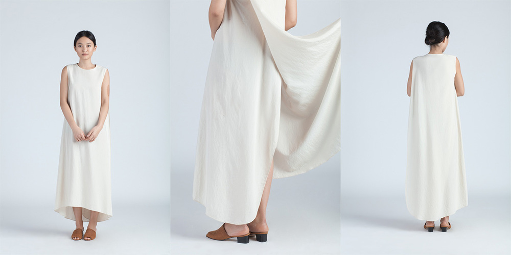 Kaarem 2x XOAY CREAM TURN SLEEVELESS OVERLAP MAXI DRESS 220.00
