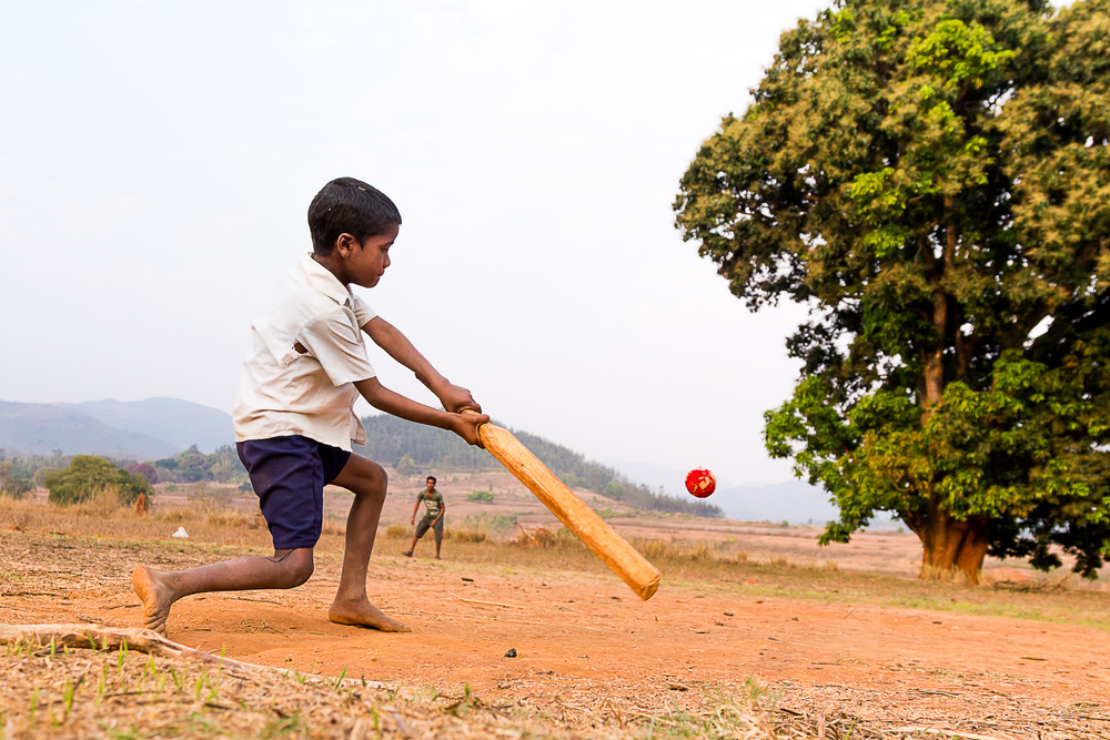 A young boy plays cricket with a hand made bat in his village in the Araku Valley in Andhra Pradesh, India.