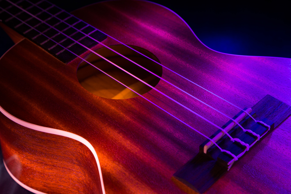 Light painting of a ukulele.  I took a night to practice light painting in my apartment to try different color combinations and techniques.