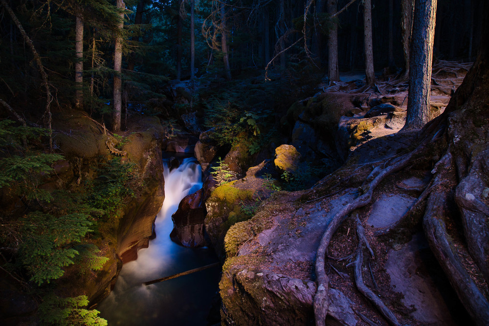 Landscape light painting in Glacier National Park.