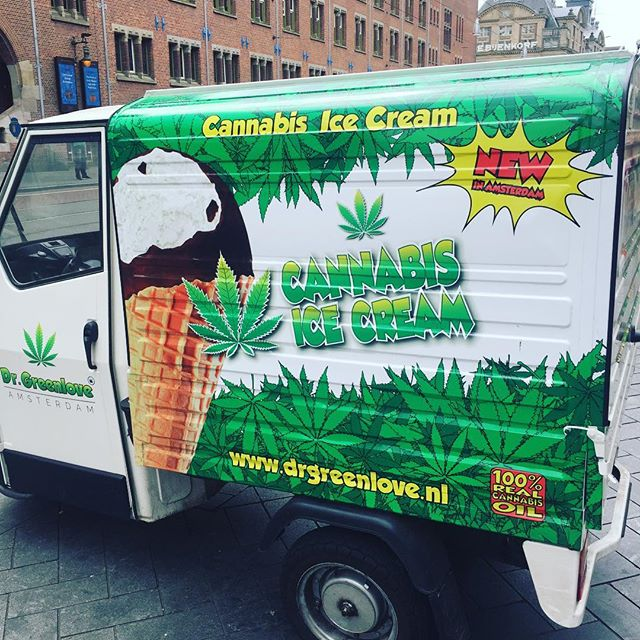 Wow. Spotted this cannabis ice cream truck on the streets of amsterdam! . . . . #icecream #icecreamoclock #dessert #cannabis #edibles #cone #sweets #foodies #foodstagram #foodblogger