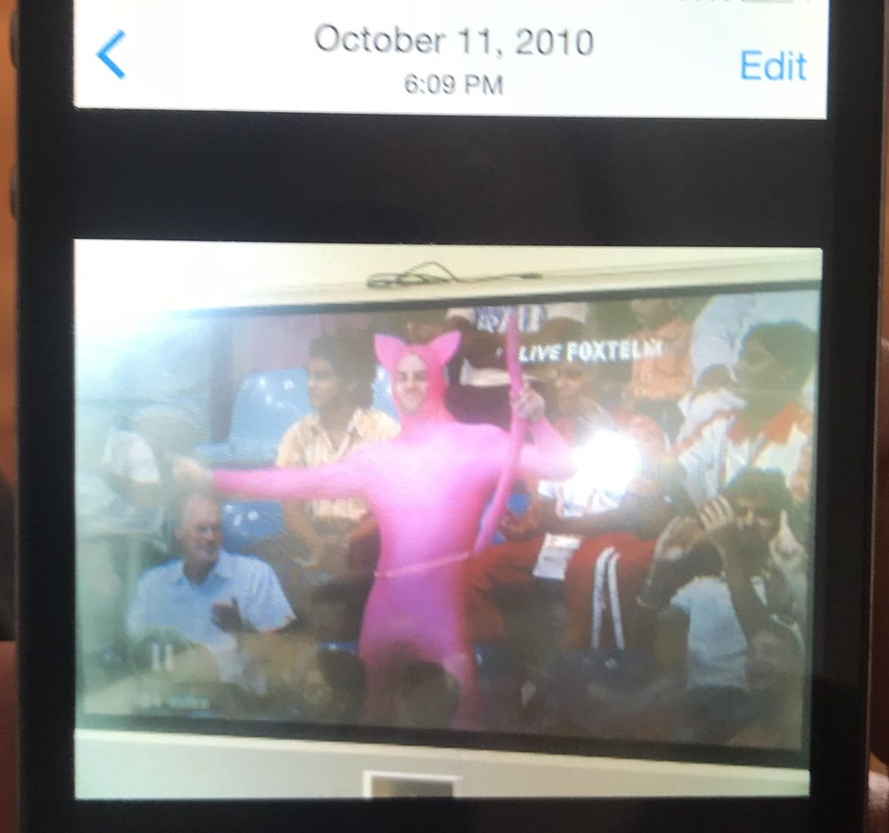 A photo of me dressed up as pink panther on my mates flat back TV.