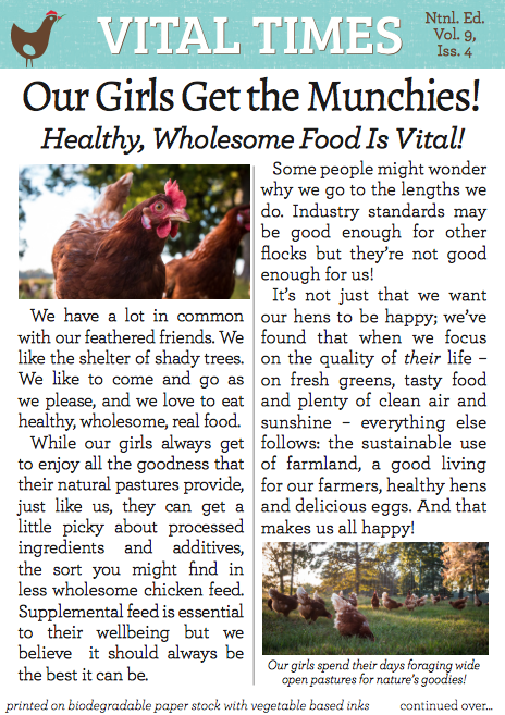 Vital Farms' Vital Times - Copywriting. Arguably the highest circulation per square inch of any tiny newspaper in the world.