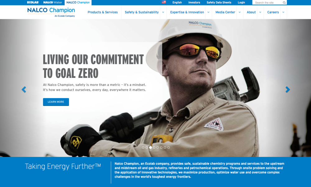 Nalco Champion Website - Content strategy, content migration, copy editing, copywriting.