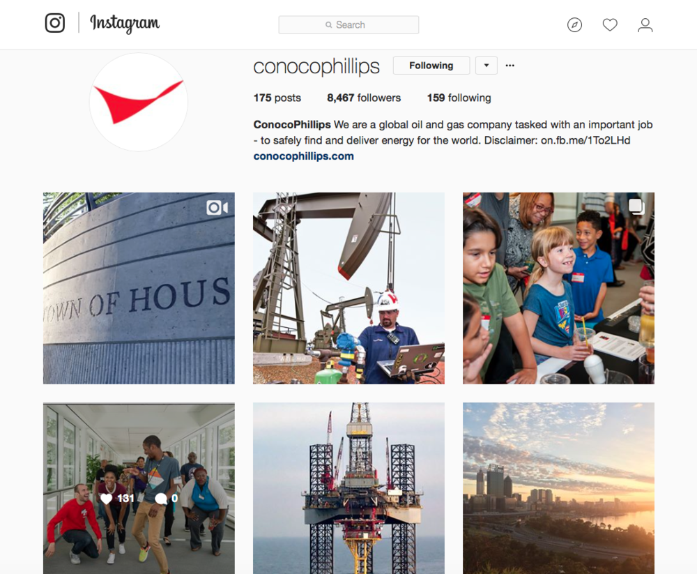 ConocoPhillips Social Media Program - Instagram. Strategy, content and channel management.