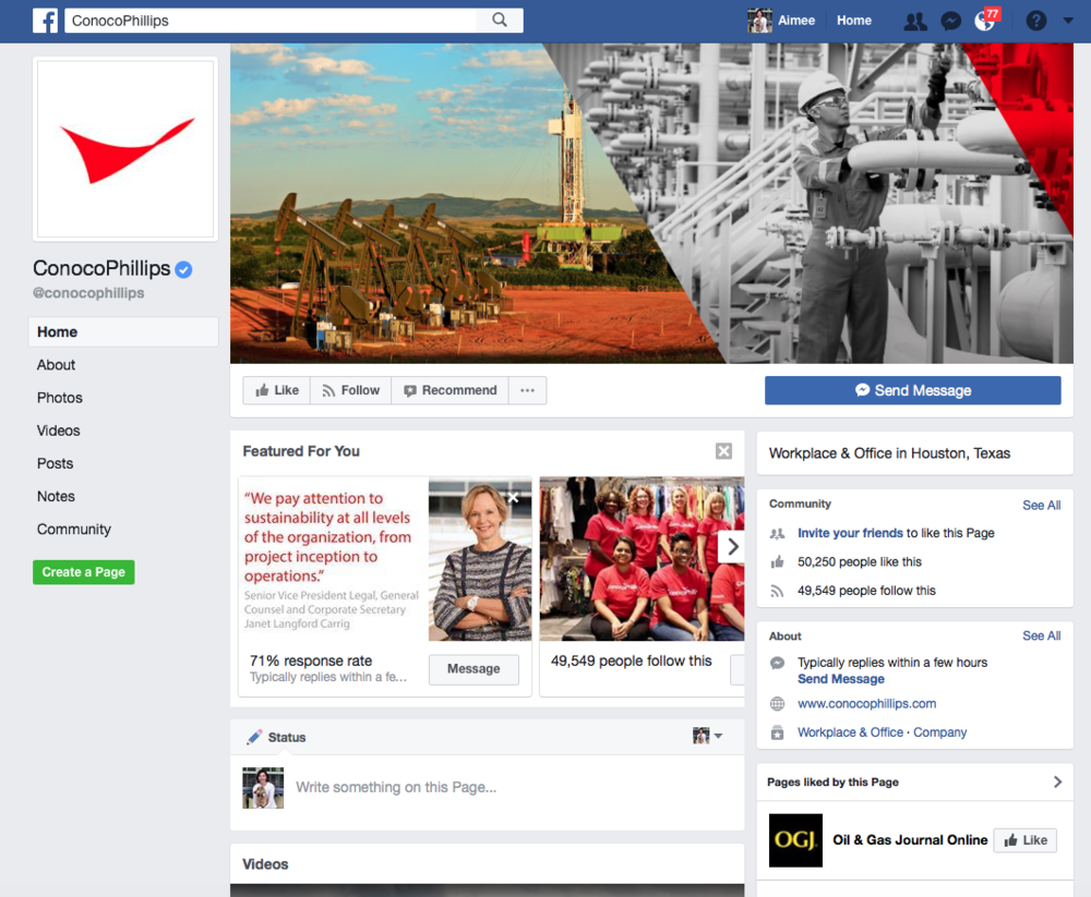 ConocoPhillips Social Media Program - Facebook. Strategy, content and channel management.