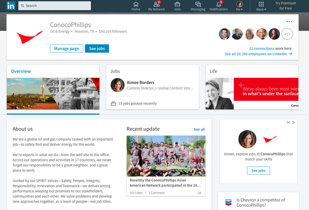 ConocoPhillips Social Media Program - LinkedIn. Strategy, content and channel management.