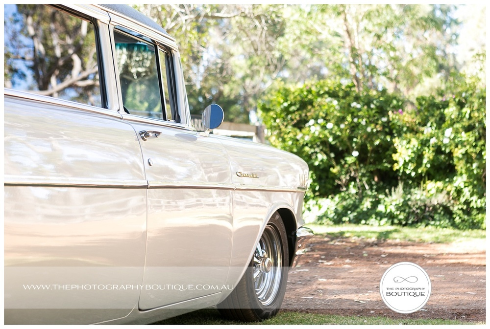 chevy limousine arriving at chandeliers on abbey wedding margaret river