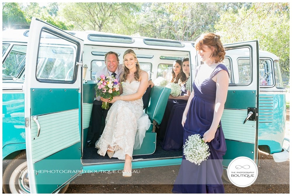 bride arriving in kombi van margaret river