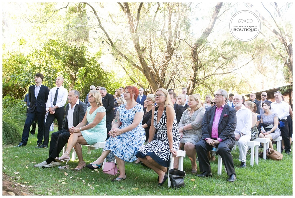 guests at garden wedding at chandeliers on abbey margaret river