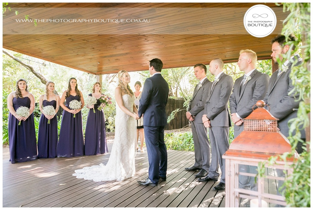 the bridal party under the pergola at chandeliers on abbey margaret river